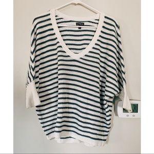 Express Striped V-neck Sweater